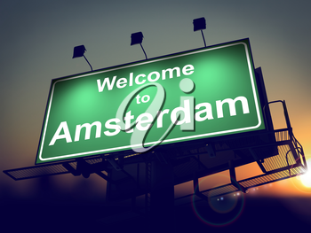 Welcome to Amsterdam - Green Billboard on the Rising Sun Background.