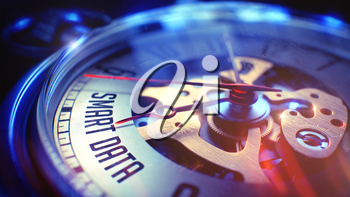 Business Concept: Smart Data Phrase. on Pocket Watch Face with CloseUp View of Watch Mechanism. Time Concept with Selective Focus and Light Leaks Effect. 3D.