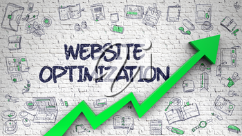 Website Optimization - Modern Illustration with Doodle Elements. Website Optimization Inscription on Line Style Illustation. with Green Arrow and Doodle Icons Around. 3d