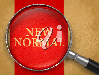 New Normal through Lens on Old Paper with Red Vertical Line Background.
