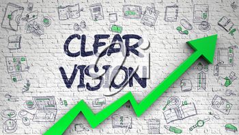 White Wall with Clear Vision Inscription and Green Arrow. Increase Concept. Clear Vision Drawn on White Brick Wall. Illustration with Doodle Design Icons. 3D.