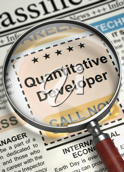 Quantitative Developer - Advertisements and Classifieds Ads for Vacancy in Newspaper. Quantitative Developer. Newspaper with the Classified Ad. Hiring Concept. Selective focus. 3D Render.