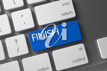 Finish Concept Slim Aluminum Keyboard with Finish on Blue Enter Button Background, Selected Focus. 3D.