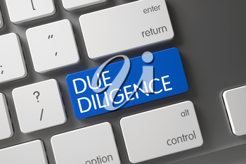 Due Diligence Concept: Aluminum Keyboard with Due Diligence, Selected Focus on Blue Enter Keypad. 3D.