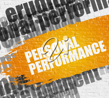 Education Concept: Personal Performance - on Brick Wall with Word Cloud Around. Modern Illustration. Personal Performance on White Brickwall Background with Word Cloud Around It.