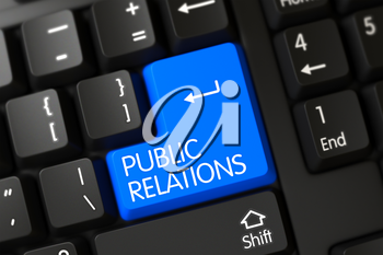 A Keyboard with Blue Keypad - Public Relations. 3D Illustration.