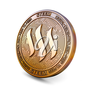 Steem STEEM - Cryptocurrency Coin Isolated on White Background. 3D rendering.