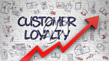 Customer Loyalty Drawn on Brick Wall. Illustration with Hand Drawn Icons. Customer Loyalty Inscription on the Modern Illustation. with Red Arrow and Doodle Design Icons Around. 3d