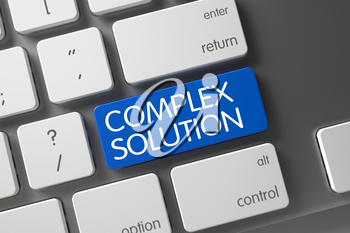 Concept of Complex Solution, with Complex Solution on Blue Enter Button on Slim Aluminum Keyboard. 3D.