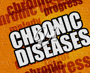 Modern medical concept: Chronic Diseases - on the Brickwall with Wordcloud Around . Chronic Diseases on the Yellow Wall .