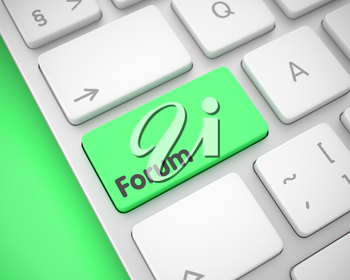 Online Service Concept. Green Button on the Modern Laptop Keyboard. Modernized Keyboard Key Showing the MessageForum. Message on Keyboard Green Key. 3D Render.