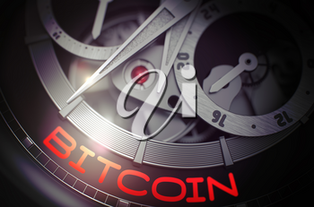 Luxury Men Wristwatch with Bitcoin Inscription on Face. Gears and Mainspring in the Mechanism of a Watch with Bitcoin on Face of It. Work Concept with Glowing Light Effect. 3D Rendering.