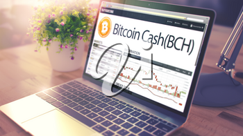 The Dynamics of Cost of Bitcoin Cash - BCH on the Laptop Screen. Cryptocurrency Concept. Toned Image with Selective Focus. 3D Render .