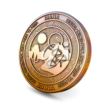 Decentraland MANA - Cryptocurrency Coin Isolated on White Background. 3D rendering.