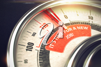 Its Time For A New Job Rate Conceptual Compass with Inscription on the Red Label. Business Concept. 3D Render.