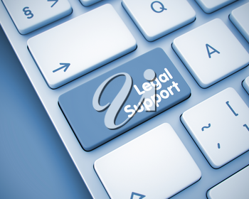 Online Service Concept with Laptop Enter Key on Keyboard: Legal Support. White Keyboard Button Showing the InscriptionLegal Support. Message on Keyboard Key. 3D Render.