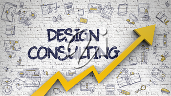 Design Consulting - Development Concept with Doodle Icons Around on Brick Wall Background. Design Consulting Drawn on White Brick Wall. Illustration with Doodle Design Icons. 3d.
