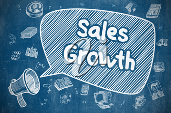 Speech Bubble with Phrase Sales Growth Doodle. Illustration on Blue Chalkboard. Advertising Concept. Sales Growth on Speech Bubble. Doodle Illustration of Shouting Megaphone. Advertising Concept.