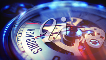 New Goals. on Watch Face with Close Up View of Watch Mechanism. Time Concept. Lens Flare Effect. Pocket Watch Face with New Goals Phrase on it. Business Concept with Light Leaks Effect. 3D.