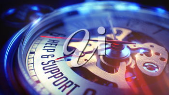 Watch Face with Help And Support Wording, CloseUp View of Watch Mechanism. Business Concept. Light Leaks Effect. 3D.
