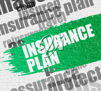 Business Concept: Insurance Plan on the Green Distressed Paintbrush Stripe. Insurance Plan Modern Style Illustration on the Green Paintbrush Stripe.
