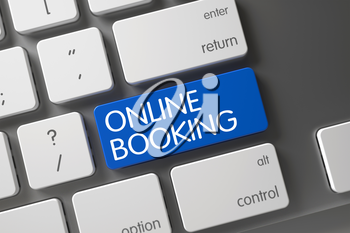Online Booking Concept: Modern Keyboard with Online Booking, Selected Focus on Blue Enter Button. 3D Illustration.
