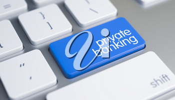 High Quality Render of a Modern Keyboard Button. The Key is Blue in Color and there is Inscription Private Banking on It. Private Banking Keypad on Keyboard Keys. 3D Illustration.