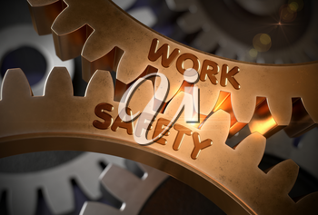 Work Safety - Industrial Design. Work Safety on the Mechanism of Golden Cogwheels with Glow Effect. 3D Rendering.