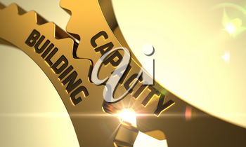 Capacity Building - Illustration with Lens Flare. Capacity Building on the Mechanism of Golden Cog Gears. Capacity Building - Technical Design. 3D Render.
