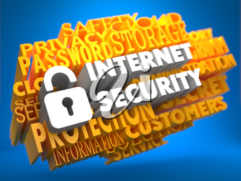 Internet Security with Icon of Opened Padlock - White Color Text on Yellow WordCloud on Blue Background.