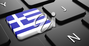 Flag of Greece - Button on Black Computer Keyboard.