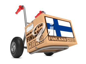 Cardboard Box with Flag of Finland and Made in Finland Slogan on Hand Truck White Background. Free Shipping Concept.