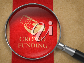 Crowd Funding Concept. Magnifying Glass with  Icon of Money in the Hand on Old Paper with Red Vertical Line Background.