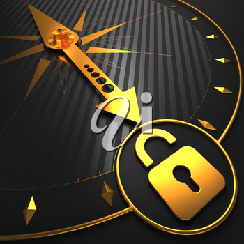 Golden Icon of Opened Padlock on Black Compass. Security Concept.