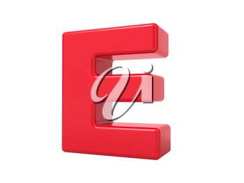 Red 3D Plastic Letter E Isolated on White.