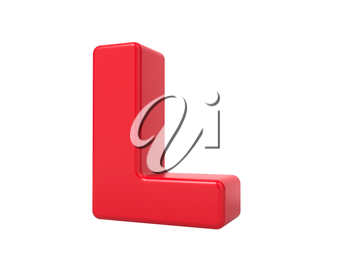 Red 3D Plastic Letter L Isolated on White.