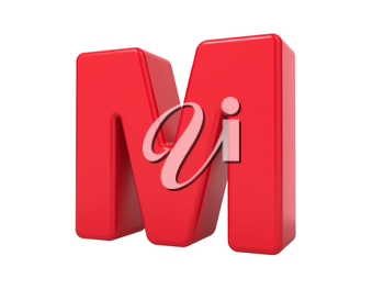 Red 3D Plastic Letter M Isolated on White.