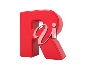 Red 3D Plastic Letter R Isolated on White.