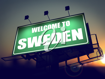Welcome to Sweden  - Green Billboard on the Rising Sun Background.