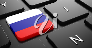 Flag of Russia - Button on Black Computer Keyboard.