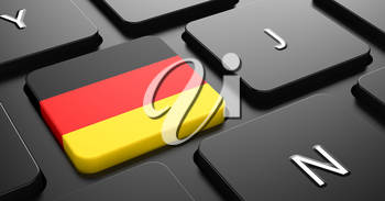 Flag of Germany - Button on Black Computer Keyboard.