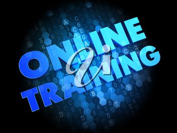 Online Training  - the Words in Blue Color on Dark Digital Background.