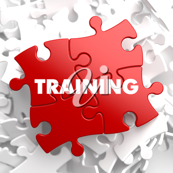 Training on Red Puzzle Pieces. Educational Concept.
