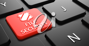 File Security with Shield Icon - Red Button on Black Computer Keyboard.