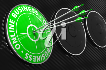 Online Business Slogan. Three Arrows Hitting the Center of Green Target on Black Background.