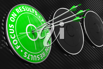 Focus on Results Slogan. Three Arrows Hitting the Center of Green Target on Black Background.