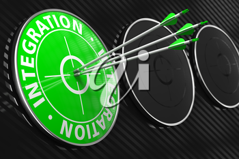 Integration - Three Arrows Hitting the Center of Green Target on Black Background.