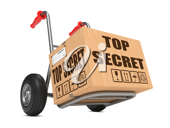 Cardboard Box with Top Secret Slogan on Hand Truck Isolated on White.