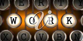 Work on Old Typewriter's Keys on Orange Background.
