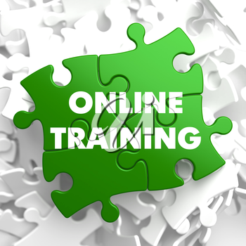 Online Training on Green Puzzle on White Background.